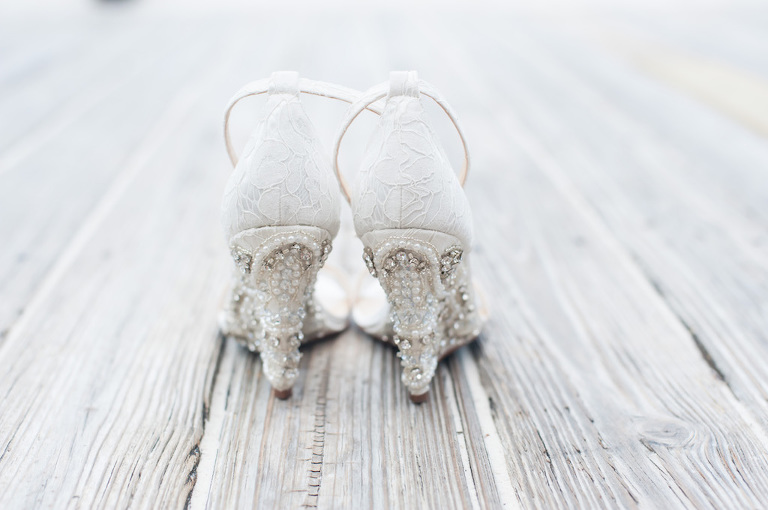 White Lace Ankle Strap Bejeweled Wedge Wedding Shoes
