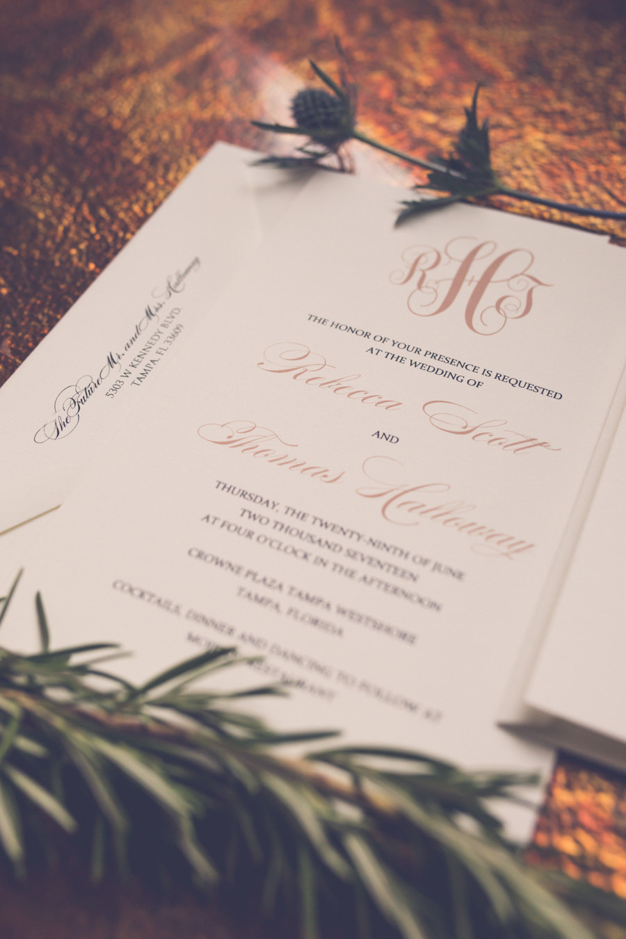 White and Elegant Dusty Rose Colored Printed Wedding Invitations Suite | Tampa Bay Wedding Invitation and Paper Goods Shop Invitation Galleria