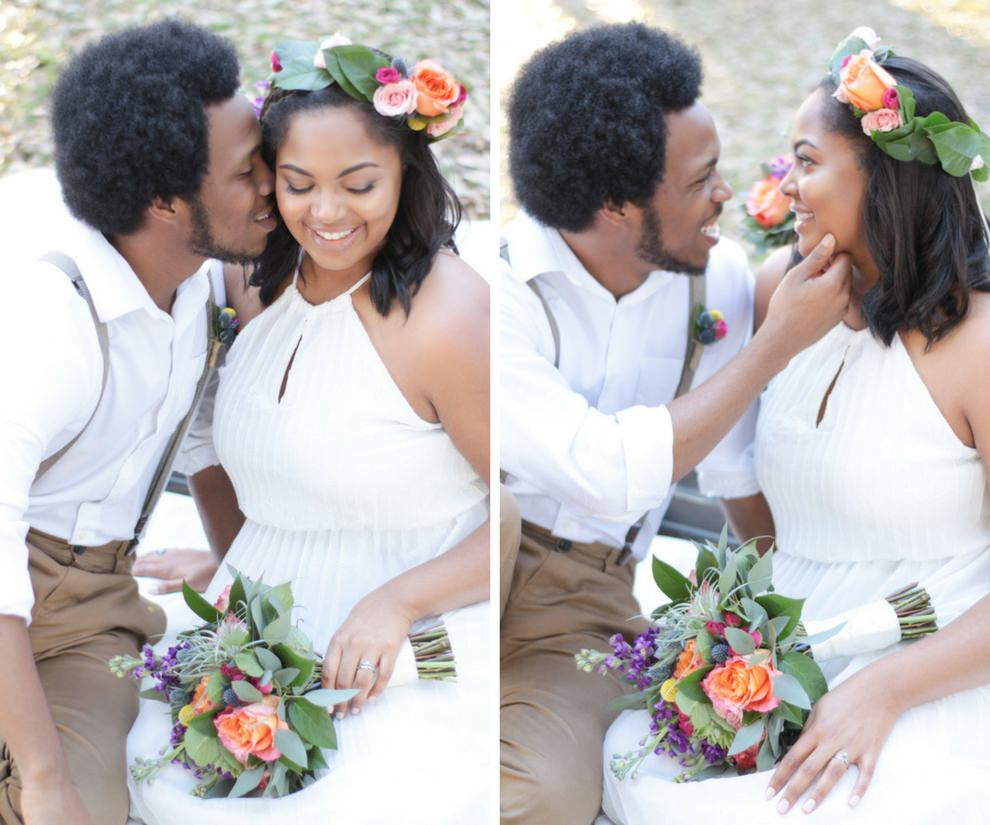 Summer Floral Bohemian Wedding Outdoor Bride and Groom Portrait with Peach Rose, Purple and Yellow Floral, Succulent and Greenery Wedding Bouquets, and Bright Purple and Blush Floral Hair Accessories, Groom with Suspenders and White Cotton Shirt, with Succulent, Pink and Yellow Floral Twine Wrapped Boutonniere   St Pete Boho Wedding Inspiration