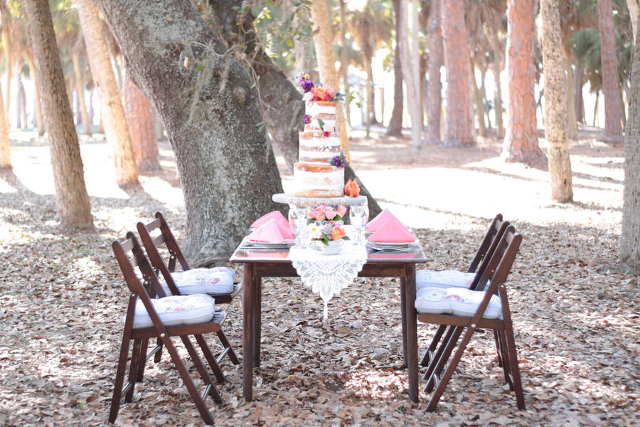 Outdoor Park Wedding Reception with Three Tier Round Naked Wedding Cake with Tropical Flowers, Table Decor with Lace Runner, Low Blush, Peach, Thistle and Succulent with Greenery Centerpiece, Vintage Wood Table and Folding Chairs with Floral Cushions, and Coral Napkins