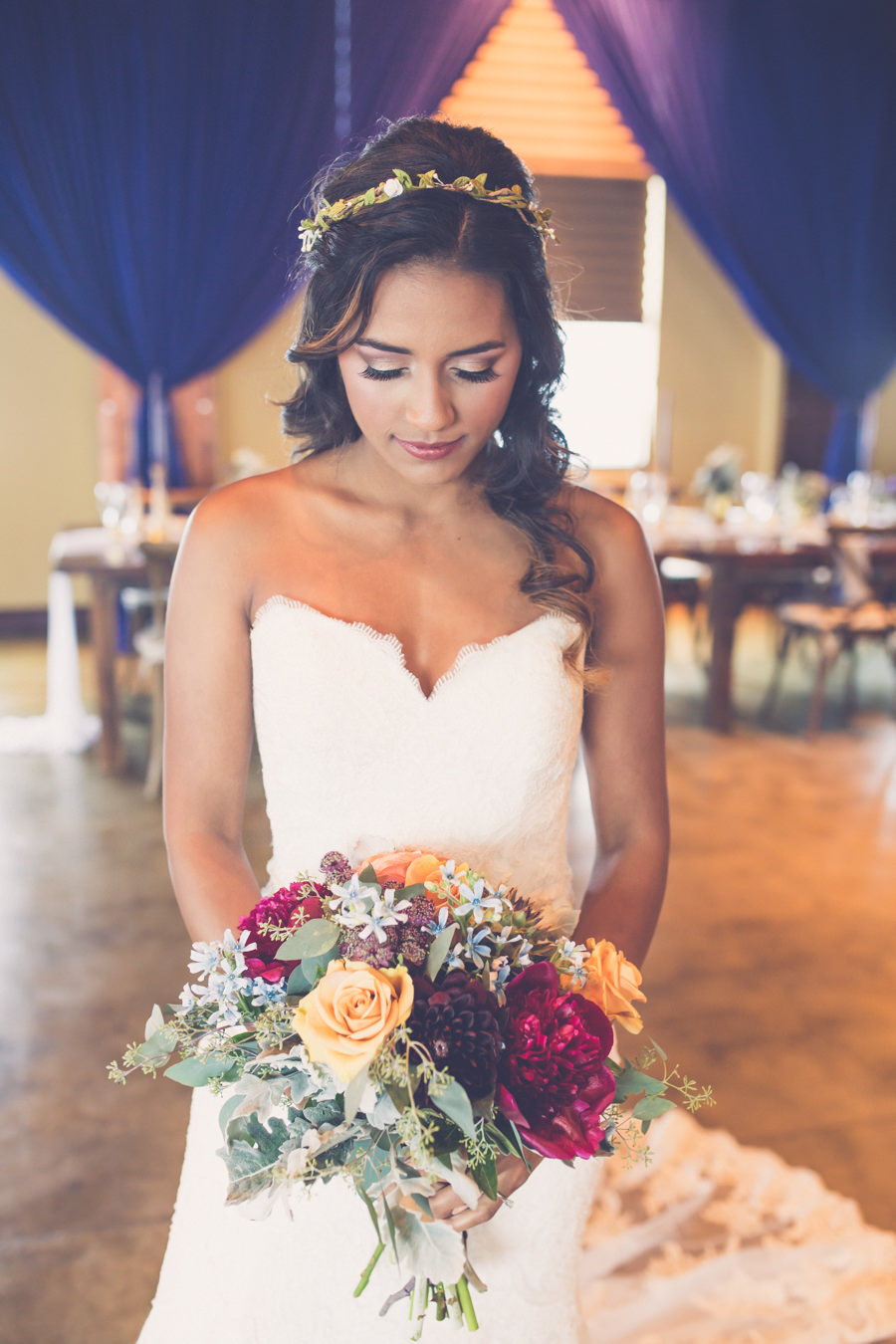 Interior Bridal Wedding Portrait with Small Floral Crown Headband Hair Accessory, Wearing Strapless Wedding Dress, with Peach, Magenta, and Greenery Bouquet | Tampa Wedding Hair and Makeup Michele Renee The Studio