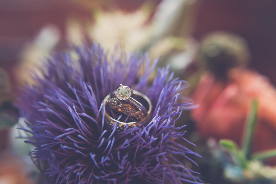 Engagement Ring and wedding Bands on Purple Thistle