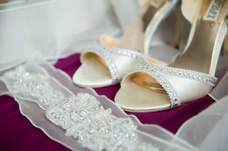 Badgley Mischka Open Toe Cream Bejeweled Wedding Shoes and Jeweled Bridal Garter