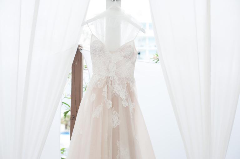 Blush Lace Monique Luhillier Ballgown Wedding Dress on Hanger