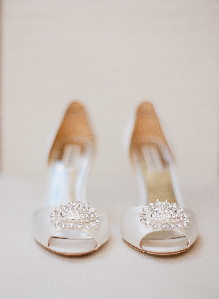 Peep Toe Ivory Satin with Jeweled Floral Accent Wedding Shoes