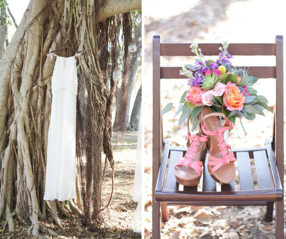 Summer Floral Bohemian Wedding Bridal Style with Column Silhouette Wedding Dress on Hanger, Pink Open Toe Sandal Wedding SHoes, and Peach Rose, Purple and Yellow Floral, Succulent and Greenery Wedding Bouquet
