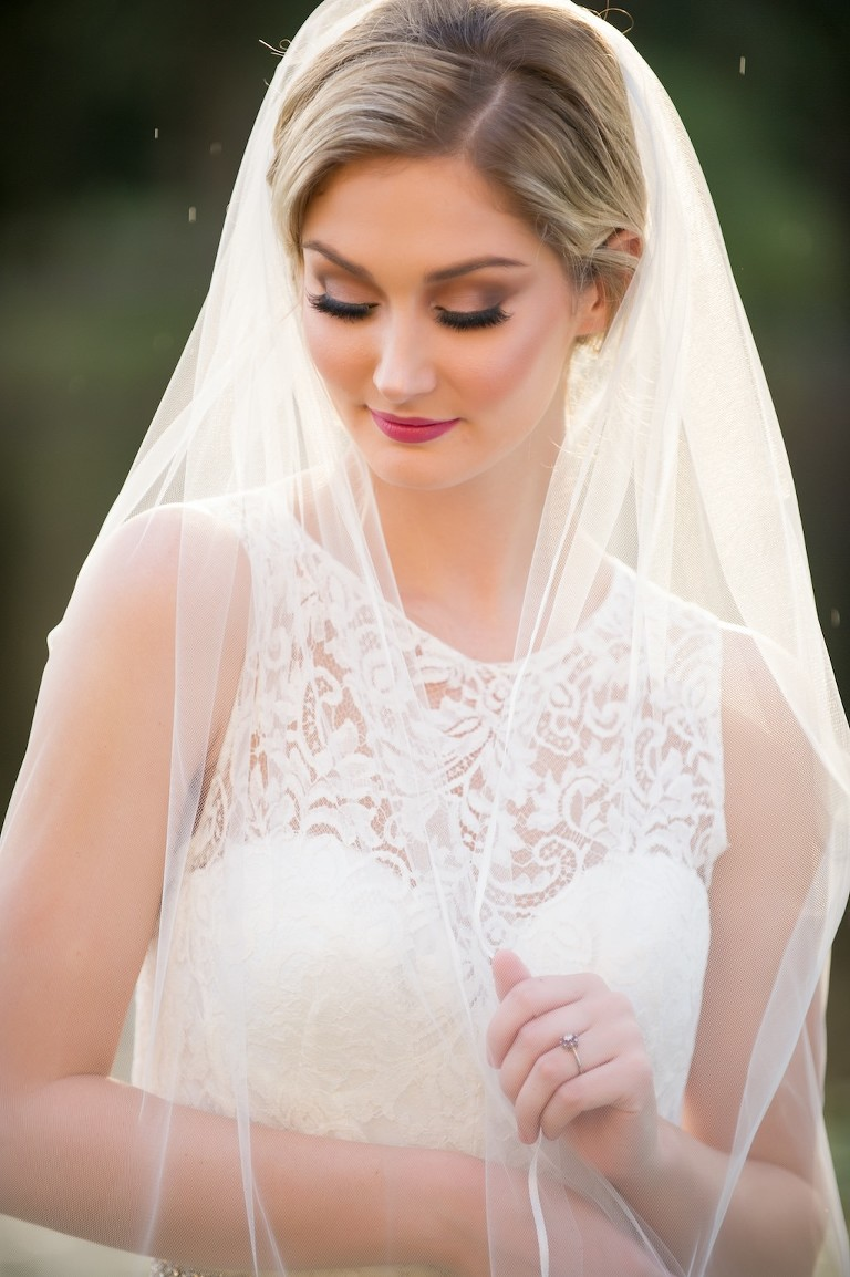 Elegant Traditional Outdoor Garden Bridal Portrait with Veil and White Lace Illusion Wedding Dress | Tampa Bay Wedding Hair and Makeup by Michele Renee the Studio | Tampa, FL Wedding Photographer Andi Diamond Photography | Downtown Tampa Bridal Boutique The Bride Tampa