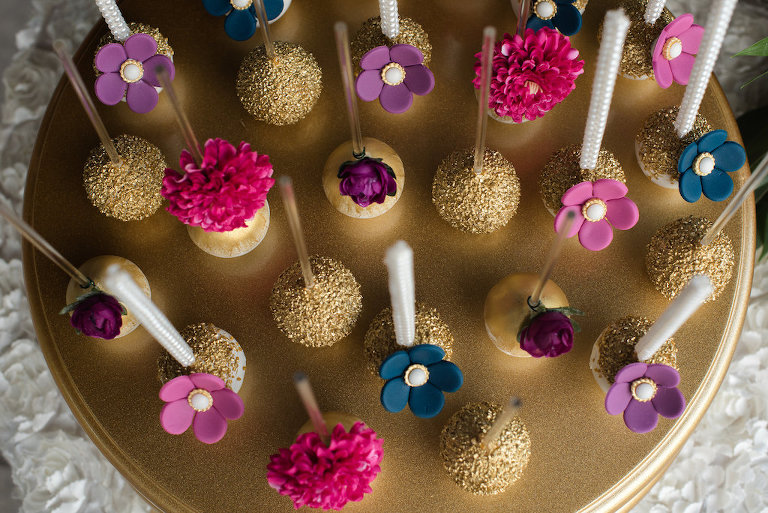 Gold, Purple, Pink, Navy Flower Cake Pops on Gold Cake Stand | Tampa Bay Wedding Desserts Sweetly Dipped Confections
