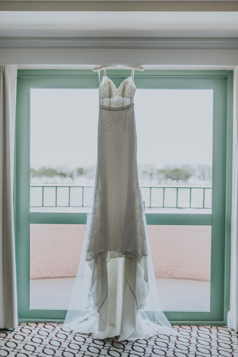 Wtoo by Watters A Line Wedding Dress on Hanger | Bridal Getting Ready Accommodations St Pete Historic Hotel Wedding Venue The Vinoy Renaissance