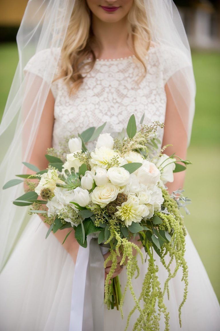 Outdoor Bridal Portrait with White Rose Bouquet with Organic Greenery | Tampa Bay Florist Gabro Event Services | Tampa, Florida Wedding Photographer Andi Diamond Photography