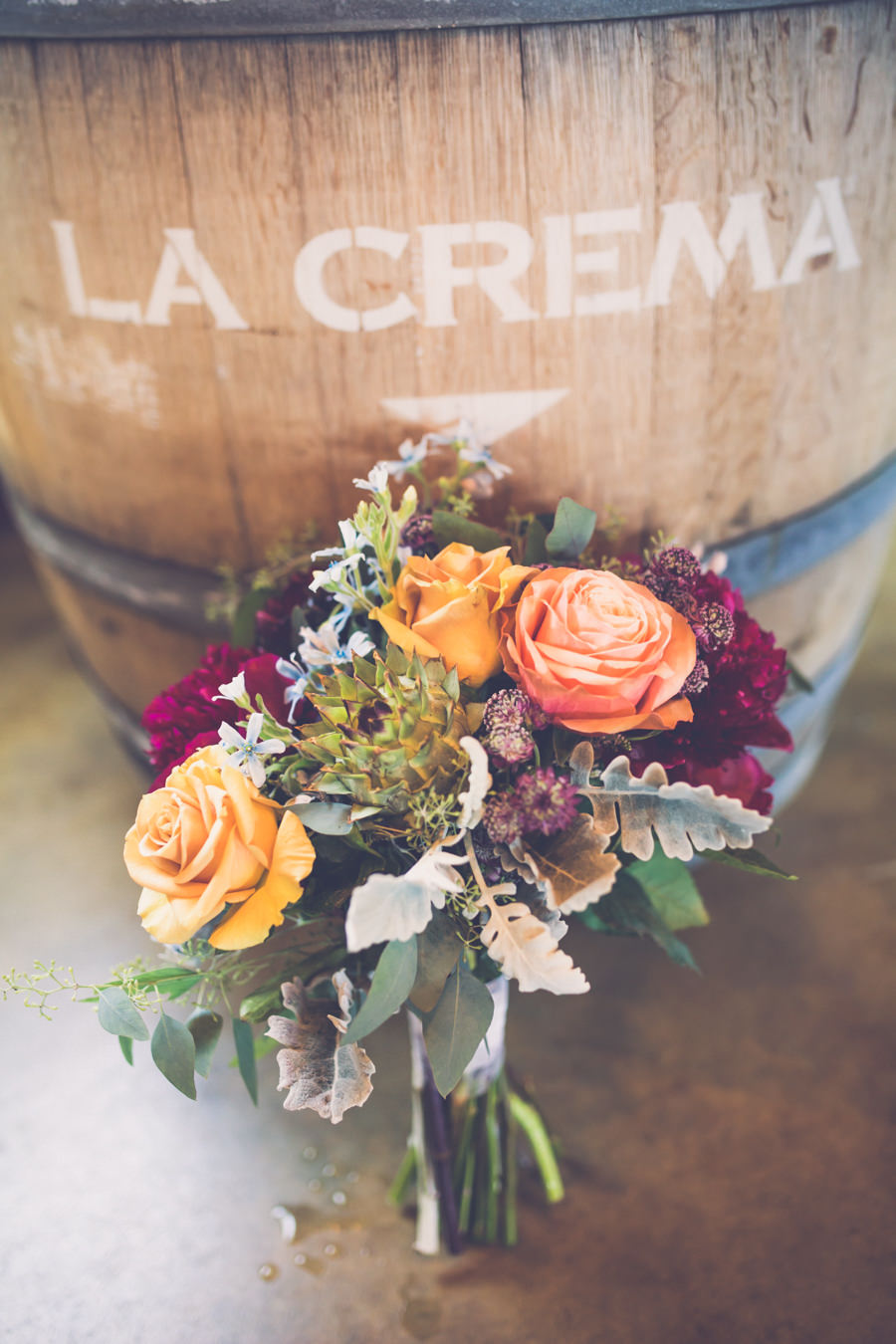 Bridal Bouquet with Gold, Peach, Bordeaux roses and Greenery | Fall Inspired Wedding Flowers