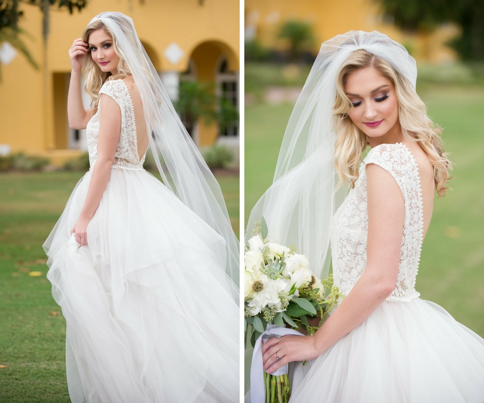Outdoor Bridal Portrait with White Rose Bouquet with Organic Greenery, Open Back Lace Ball Gown Wedding Dress from Tampa Bridal Bouqtique The Bride Tampa | Tampa Bay Florist Gabro Event Services | Tampa, Florida Wedding Photographer Andi Diamond Photography | Bridal Styling Hair and Makeup Michele Renee The Studio