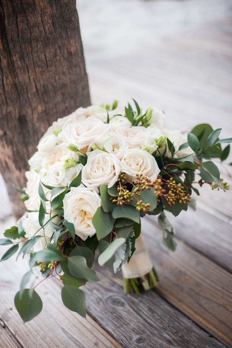 Blush Rose with Greenery Wedding Bouquet