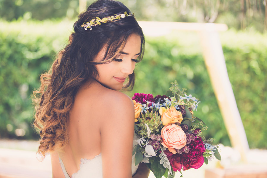 Outdoor Garden Bridal Portrait with Natural Greenery Hair Band Accessory and Peach and gold Rose, Succulent, and Magenta Flower with Greenery Wedding Bouquet | Tampa Wedding Hair and Makeup by Michele Renee The Studio