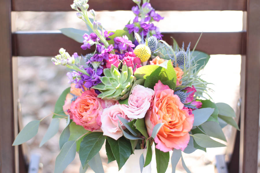 Peach Rose, Purple and Yellow Floral, Succulent and Greenery Wedding Bouquet