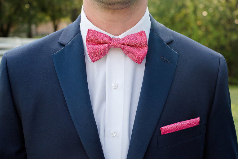 Groom Attire with Navy Blue Suit and Hot Pink Bowtie and Pocket Square