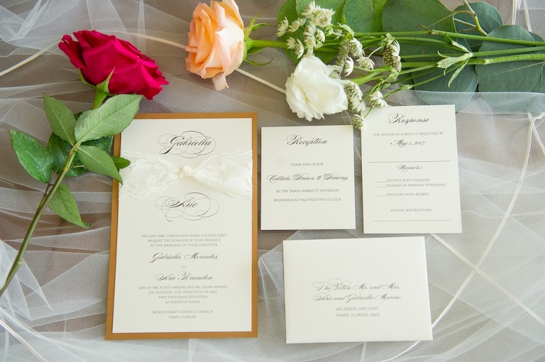 Elegant White and Gold Wedding Invitation Suite with Red, Peach, and White Rose | Wedding Stationery Invitation Galleria