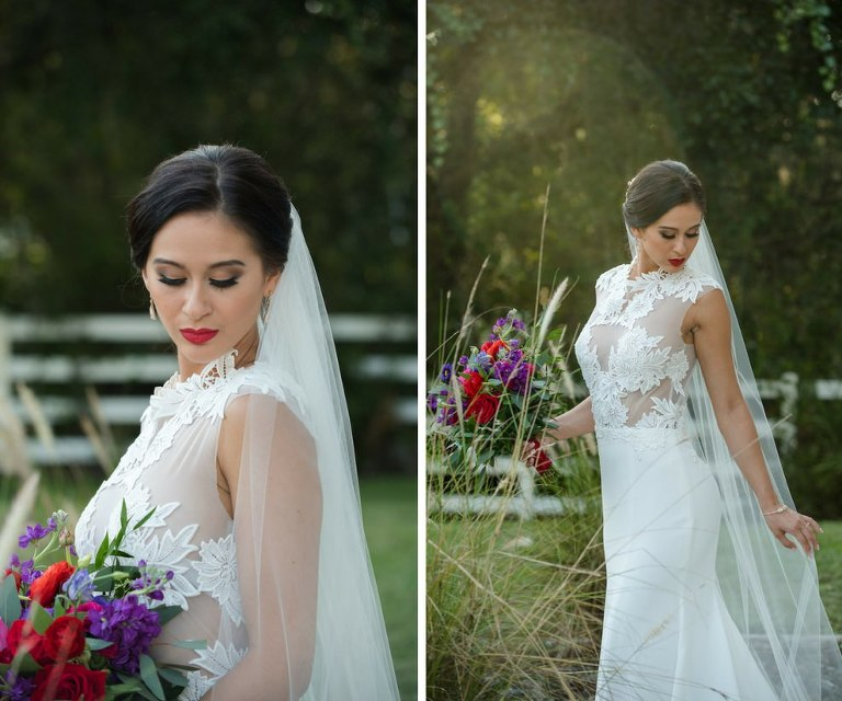 Outdoor Wedding Portrait with Red, Purple, and Greenery Bouquet from Tampa Florist Northside Florist, in Daalarna Couture Illusion Lace Wedding Dress from The Bride Tampa | Hair and Makeup by Michele Renee The Studio | Caroline & Evan Photography