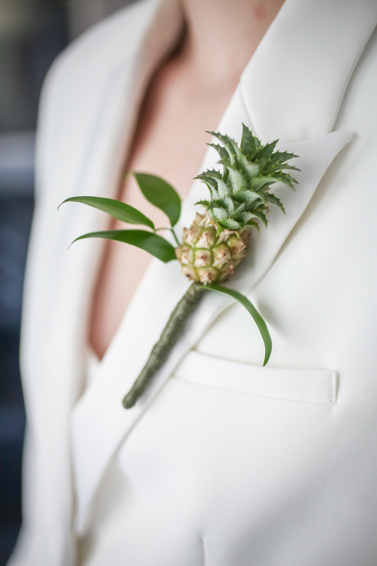 White Bridesmaids Suit Miniature Pineapple Wedding Boutonnière