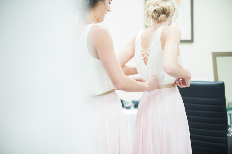 Bridesmaids Getting Ready Portrait with Two Piece White Tops and Long Blush Pink Skirts | Boho Wedding Style