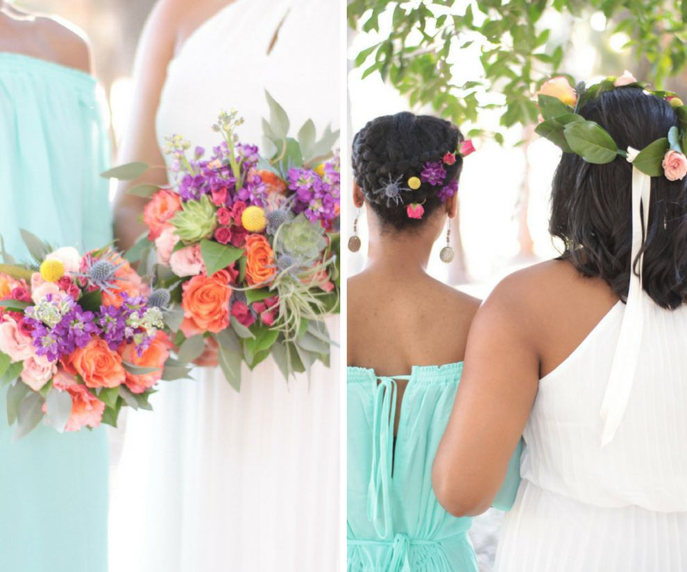 Outdoor Garden Wedding Bridal Party Portrait with Off The Shoulder Aqua Bridesmaid Dress, Peach Rose, Purple and Yellow Floral, Succulent and Greenery Wedding Bouquets, and Bright Purple and Blush Floral Hair Accessories
