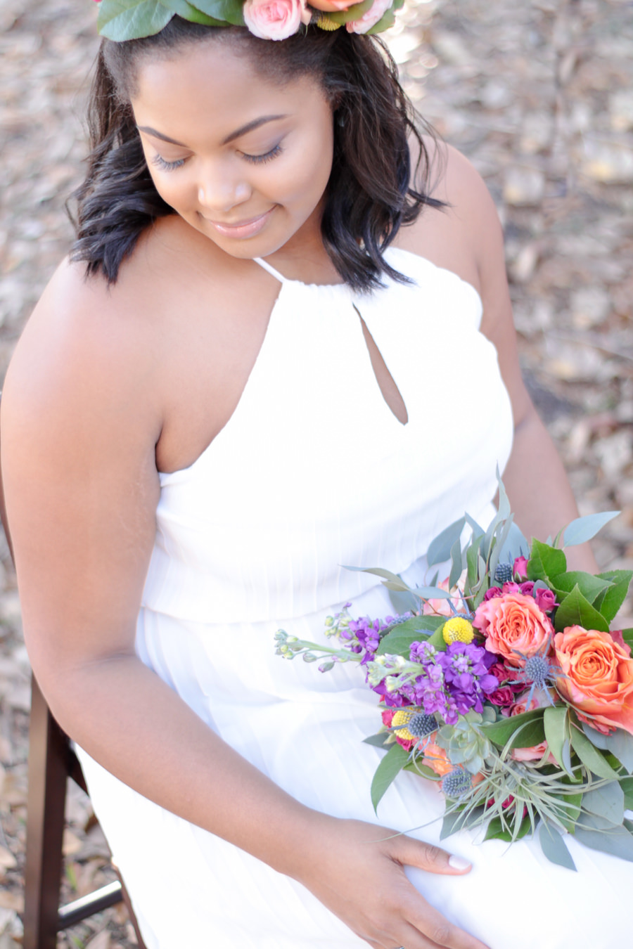 Summer Floral Bohemian Wedding Outdoor Bridal Portrait with Peach Rose, Purple and Yellow Floral, Succulent and Greenery Wedding Bouquets, and Bright Purple and Blush Floral Hair Accessories