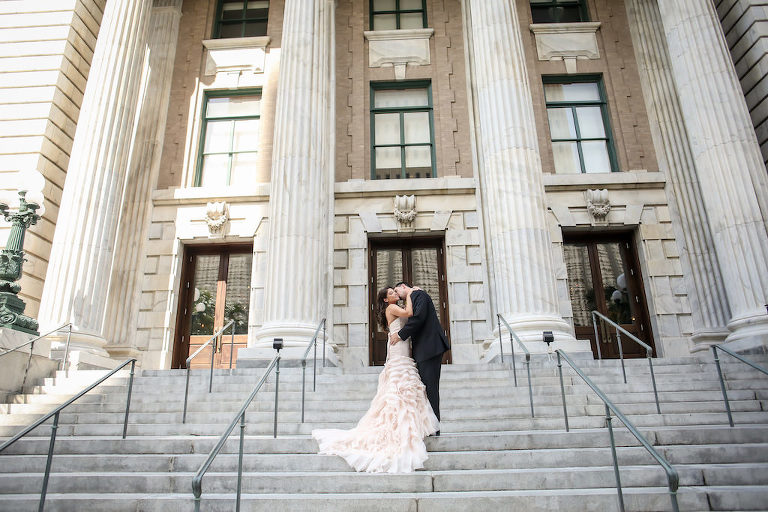 Outdoor First Look Portrait, Bride in Blush Layered Mermaid Sottero and Midgley Wedding Dress | Tampa Wedding Photographer Lifelong Studios | Downtown Tampa Wedding Hotel Venue Le Meridien | Planner Special Moments Event Planning