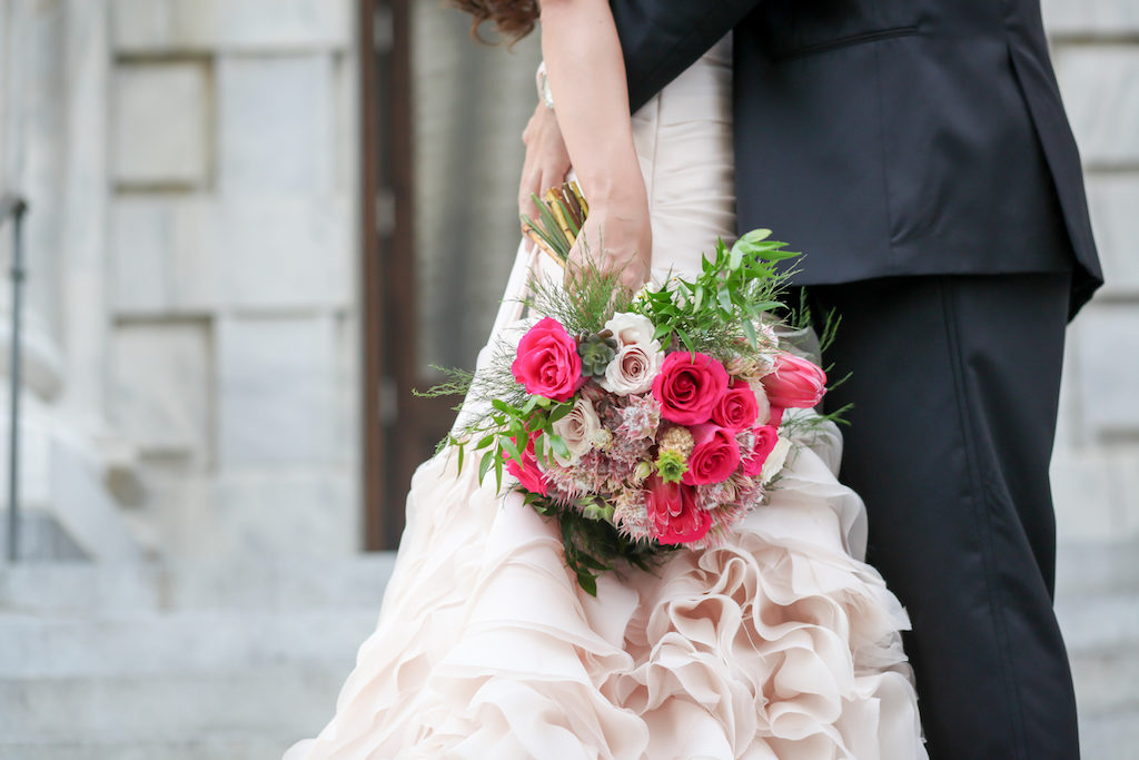 Bride and Groom Portrait with Blush Layered Wedding Dress and Pink, Blush, and Greenery Wedding Bouquet | Tampa Bay Wedding Photography Lifelong Studios
