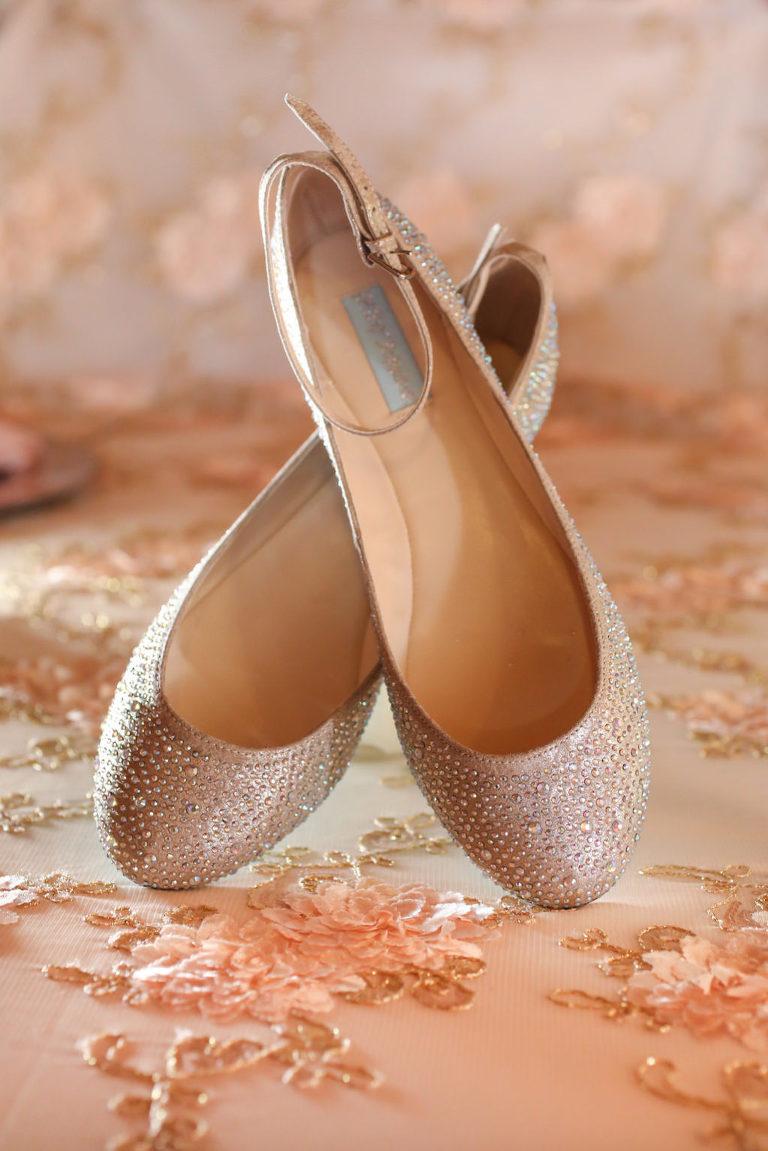 Blush Rhinestone Ballet Flat Wedding Shoes