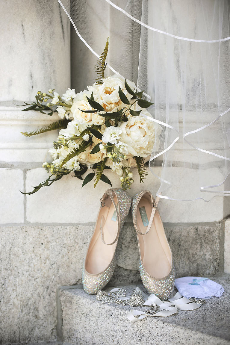 Sparkly Ballet Flat Wedding Shoes with Cream Rose and Natural Greenery Bridal Bouquet