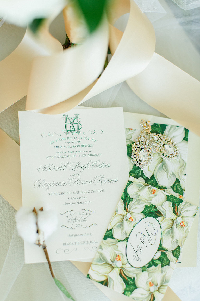 Green and White Magnolia Old Florida Style Wedding Invitation Suite and Bridal Jewelry | Invitation Design by Glitz Events