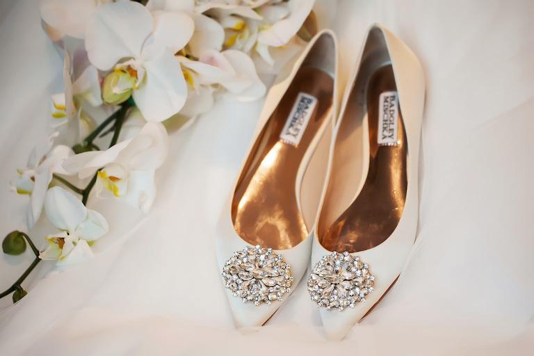 Badgley Mischka White Flat Pointed Toe Rhinestone Wedding Shoes