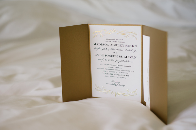 Elegant Brown and White with Gold Foil Wedding Invitation Suite
