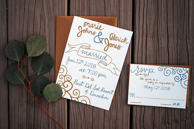 Gold and Blue Hand-drawn Wedding Invitation Suite