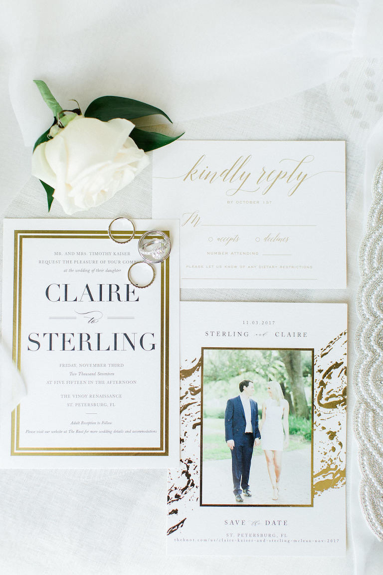 Elegant White and Gold Foil Marble Wedding Invitation Suite