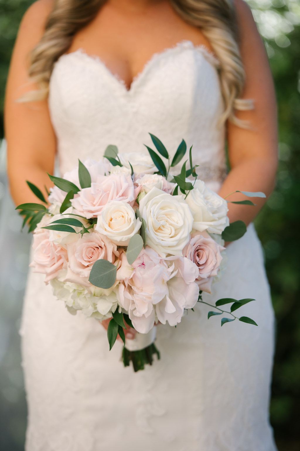 Bridal Portrait With Blush And White Rose And Peony Bouquet With Greenery Marry Me Tampa Bay Local Real Wedding Inspiration Vendor Recommendation Reviews