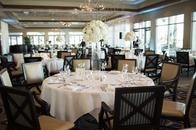 Sarasota Yacht Club Elegant Ivory And Champagne Wedding Reception With Extra Tall White Hydrangea Natural Branch Centerpiece In