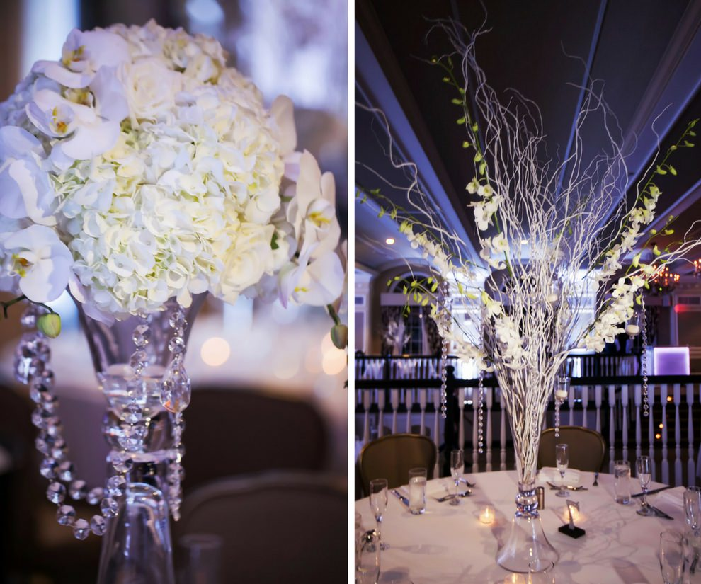 Winter White and Silver Black Tie Hotel Ballroom Wedding Reception Table Decor with Wild White Branches and Tall Orchid Centerpiece in Stylish Glass Vase   St Petersburg Historic Wedding Venue The Don Cesar