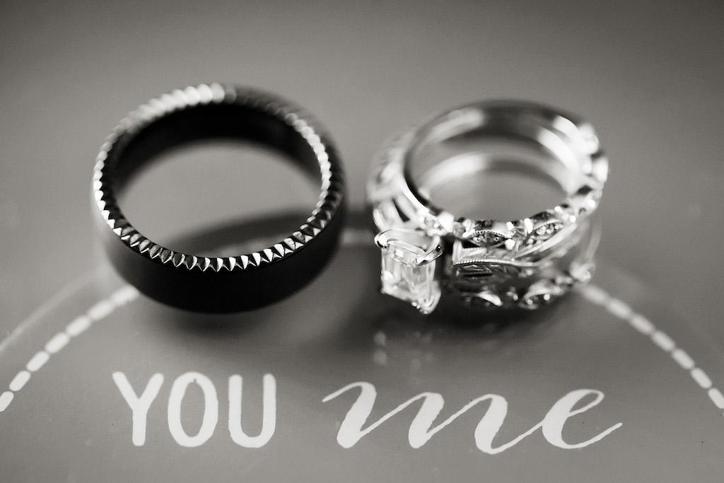 Black Metal Man's Wedding Band with Diamond Engagement Ring and Wedding Band