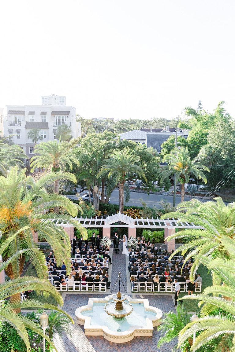 Aerial Hotel Garden Courtyard Wedding Ceremony Portrait with Art Deco Fountain | Downtown St Pete Historic Wedding Venue The Vinoy Renaissance