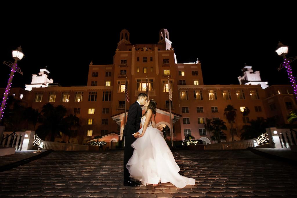 Outdoor Nighttime Wedding Portrait, Bride in Layered Ballgown Wedding Dress   St Pete Historic Hotel Wedding Venue The Don Cesar