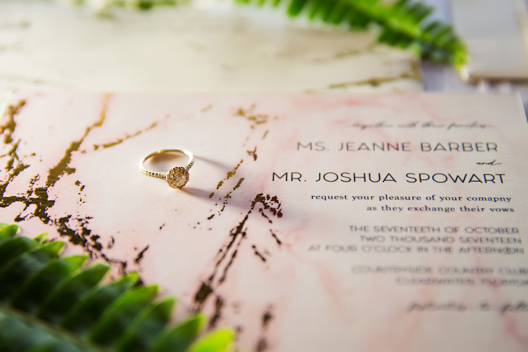 Brown and White Natural Marble Inspired Wedding Invitation Suite and Paper Goods from Tampa Bay Wedding Stationary Designer URBANcoast with Engagement Ring