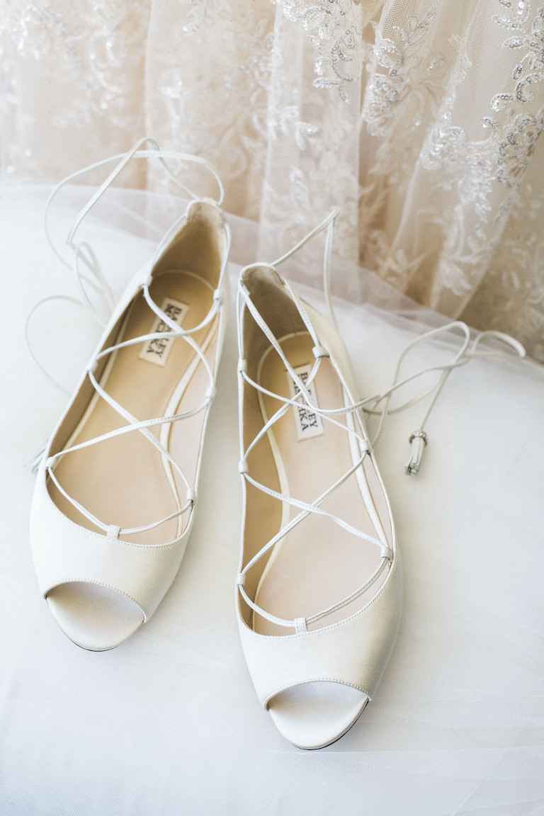 Badgley Mischka Lace-up Open Toe Ballet Flat Wedding Shoes