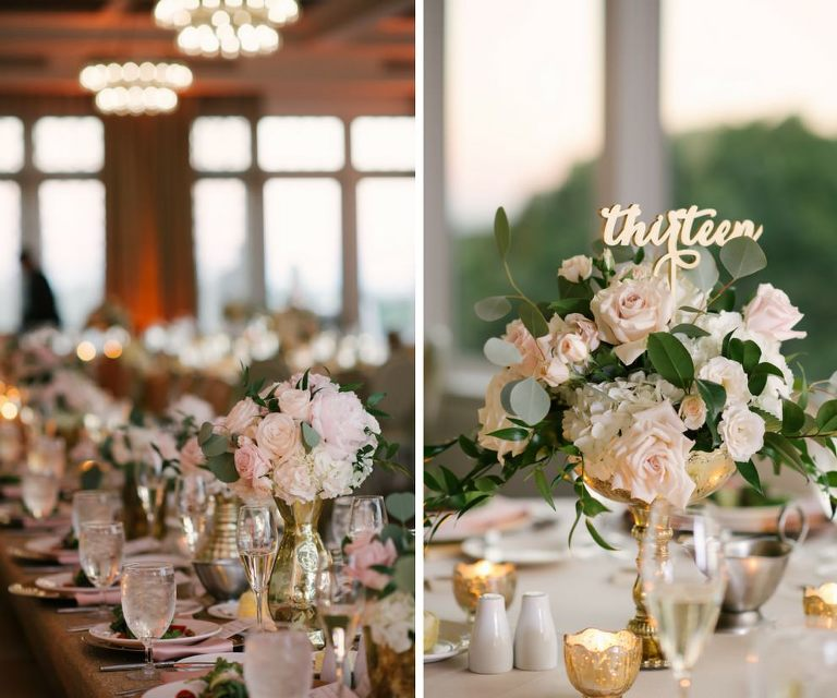 Gold Wedding Centerpieces: Blush Pink & Gold Downtown St. Pete Wedding