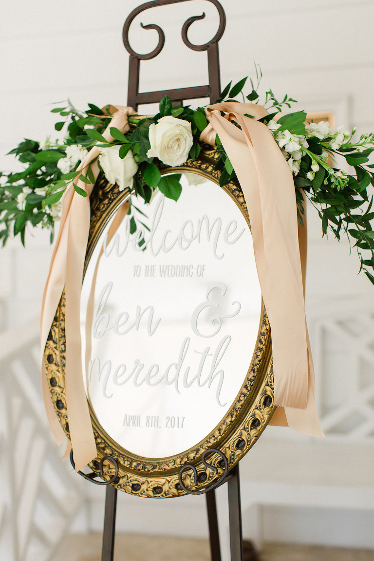 Old Florida Inspired Wedding Reception Welcome Sign on Vintage Gold Mirror with White Rose and Greenery Floral Garland with Long Gold Ribbons | Tampa Bay Wedding Planner Glitz Events
