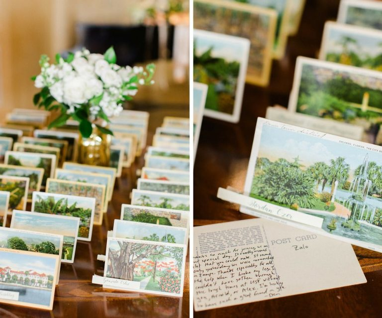 Old Florida Inspired Wedding Reception Escort Card Table with Vintage Postcards and Small White Floral with Greenery in Gold Vase | Tampa Bay Wedding Planner Glitz Events