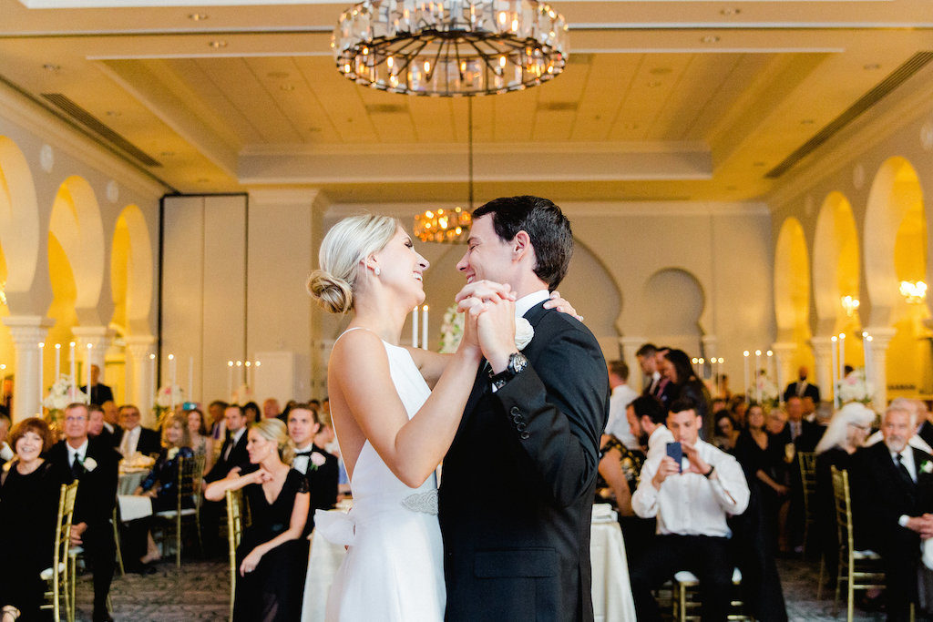 Gold, Black and White Hotel Ballroom Wedding Reception First Dance Portrait | St Petersburg Historic Wedding Venue The Vinoy Renaissance | Tampa Bay Wedding Photographer Ailyn La Torre Photography