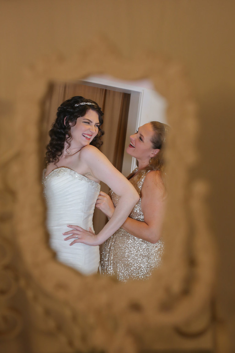 Bride Getting Ready Portrait in Mirror | Tampa Bay Wedding Photographer Lifelong Photography Studios