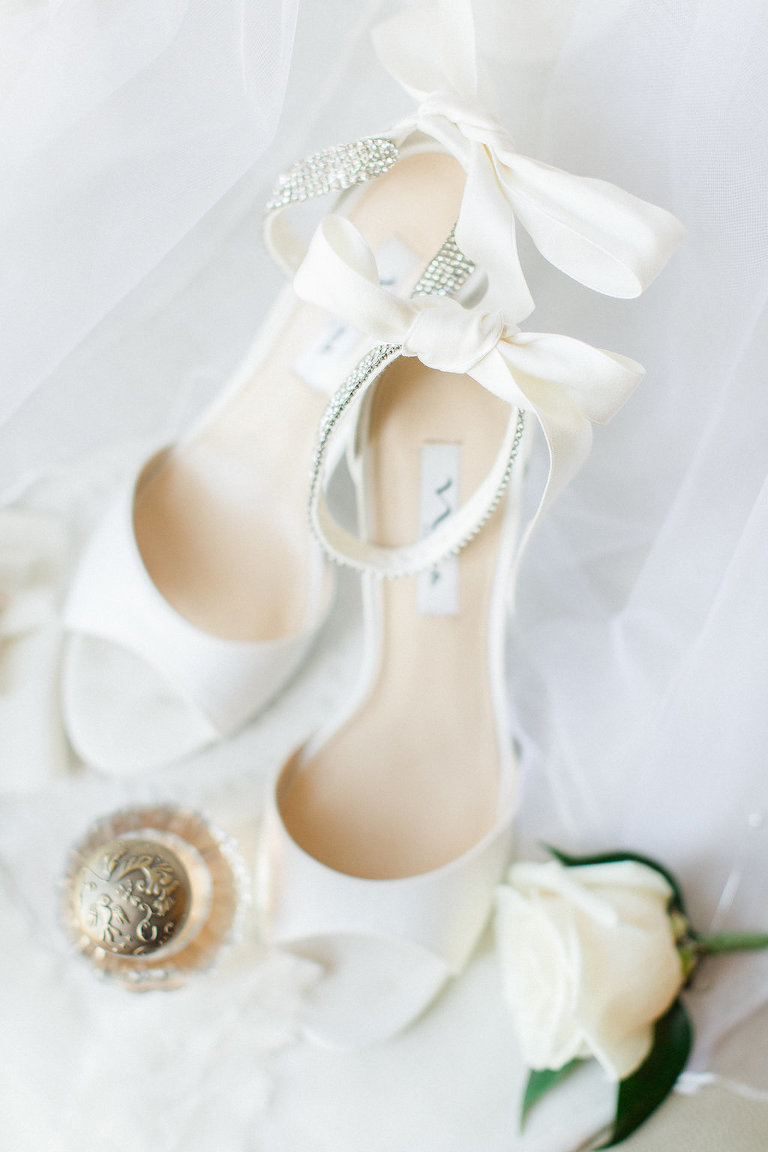 White Satin Open Toe Jeweled Ankle Strap Wedding Shoes