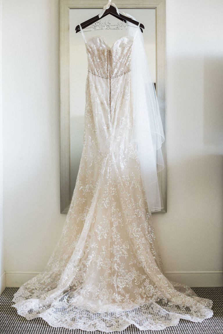 A Line Champagne Floral Lace Ines Di Santo Wedding Dress on Personalized Hanger